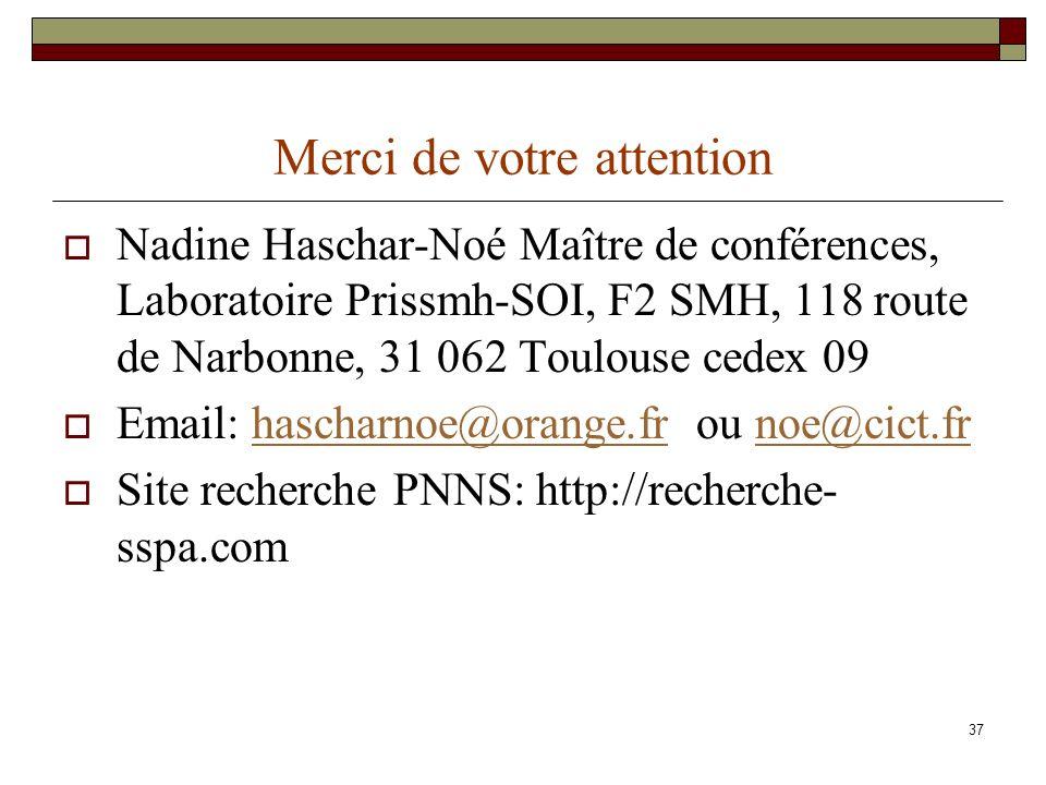 37 Merci de votre attention Nadine Haschar-Noé Maître de conférences, Laboratoire Prissmh-SOI, F2 SMH, 118 route de Narbonne, 31 062 Toulouse cedex 09