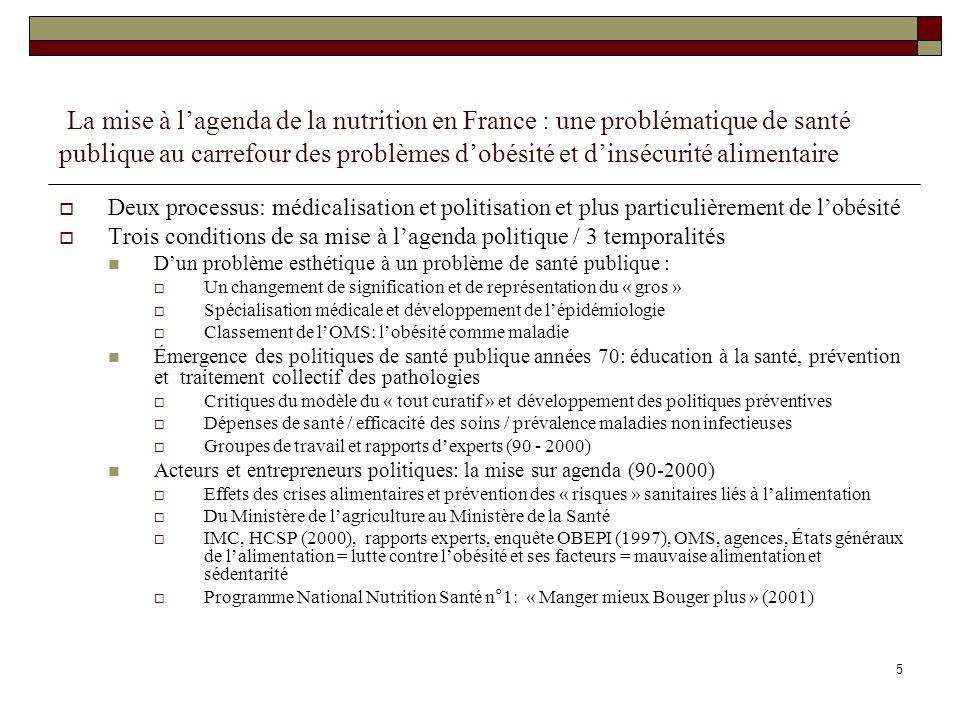 16 PNNS 1 (2001-2005): configuration « resserrée », traduction sélective et découplage national-régional 34 programmes recensés: prévention de lobésité infantile surtout classes maternelles (11), ateliers déducation nutritionnelle (9) pour publics spécifiques, formation (8), lutte contre la sédentarité (6) Un faible engagement initial des communes: deux « villes actives » du PNNS en Midi-Pyrénées en 2005, St Jean (31), Labruguière (81).