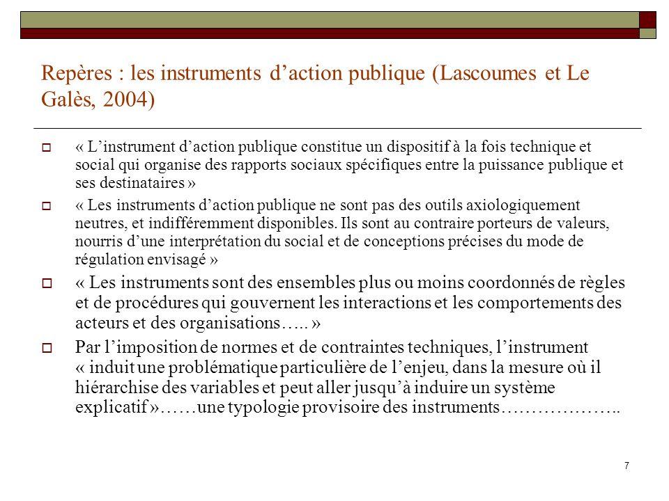 7 Repères : les instruments daction publique (Lascoumes et Le Galès, 2004) « Linstrument daction publique constitue un dispositif à la fois technique