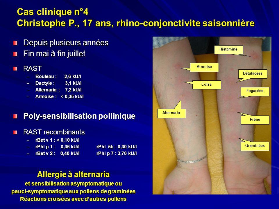 Cas clinique n°4 Christophe P., 17 ans, rhino-conjonctivite saisonnière Depuis plusieurs années Fin mai à fin juillet RAST –Bouleau : 2,6 kU/l –Dactyl