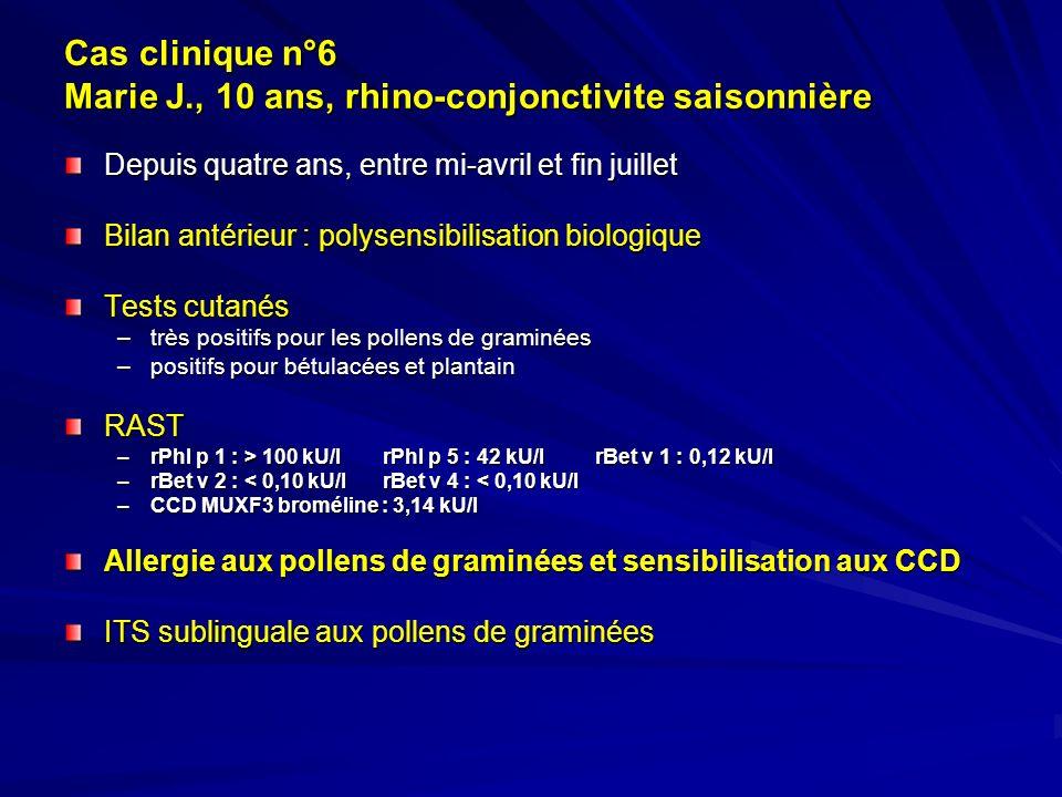 Cas clinique n°6 Marie J., 10 ans, rhino-conjonctivite saisonnière Depuis quatre ans, entre mi-avril et fin juillet Bilan antérieur : polysensibilisat