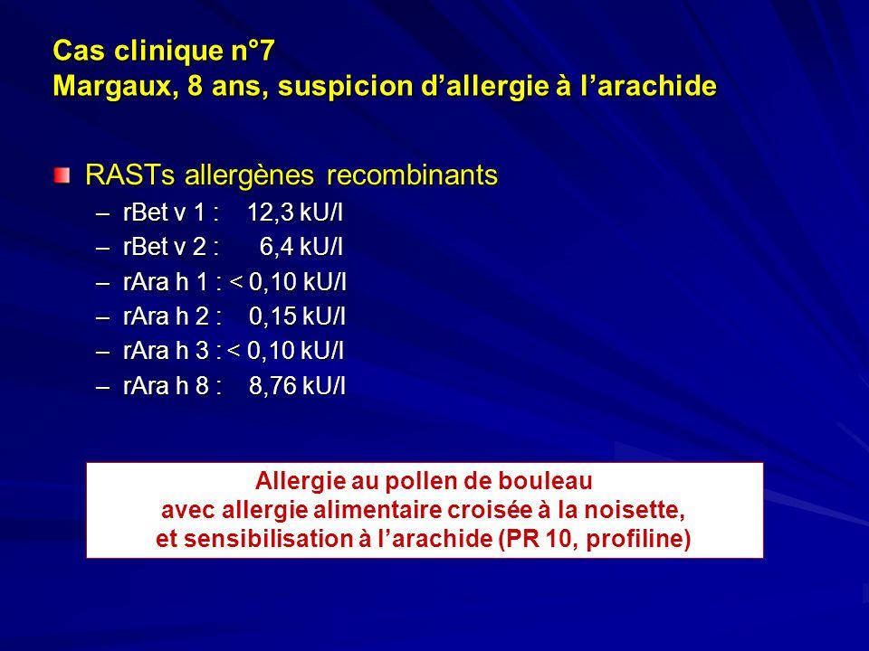 Cas clinique n°7 Margaux, 8 ans, suspicion dallergie à larachide RASTs allergènes recombinants –rBet v 1 : 12,3 kU/l –rBet v 2 : 6,4 kU/l –rAra h 1 :
