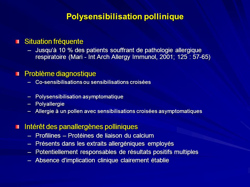 Cas clinique n°7 Margaux, 8 ans, suspicion dallergie à larachide RASTs allergènes recombinants –rBet v 1 : 12,3 kU/l –rBet v 2 : 6,4 kU/l –rAra h 1 : < 0,10 kU/l –rAra h 2 : 0,15 kU/l –rAra h 3 :< 0,10 kU/l –rAra h 8 : 8,76 kU/l Allergie au pollen de bouleau avec allergie alimentaire croisée à la noisette, et sensibilisation à larachide (PR 10, profiline)