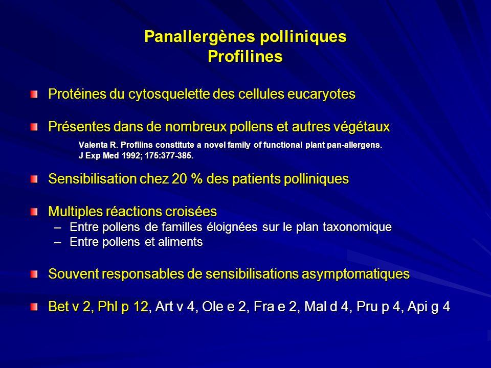 Polysensibilisation pollinique Situation fréquente –Jusquà 10 % des patients souffrant de pathologie allergique respiratoire (Mari - Int Arch Allergy Immunol, 2001; 125 : 57-65) Problème diagnostique –Co-sensibilisations ou sensibilisations croisées –Polysensibilisation asymptomatique –Polyallergie –Allergie à un pollen avec sensibilisations croisées asymptomatiques Intérêt des panallergènes polliniques –Profilines – Protéines de liaison du calcium