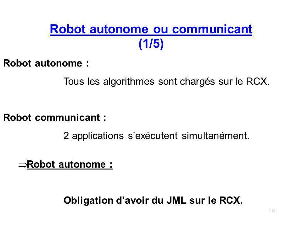 11 Robot autonome ou communicant (1/5) Robot autonome : Tous les algorithmes sont chargés sur le RCX. Robot communicant : 2 applications sexécutent si
