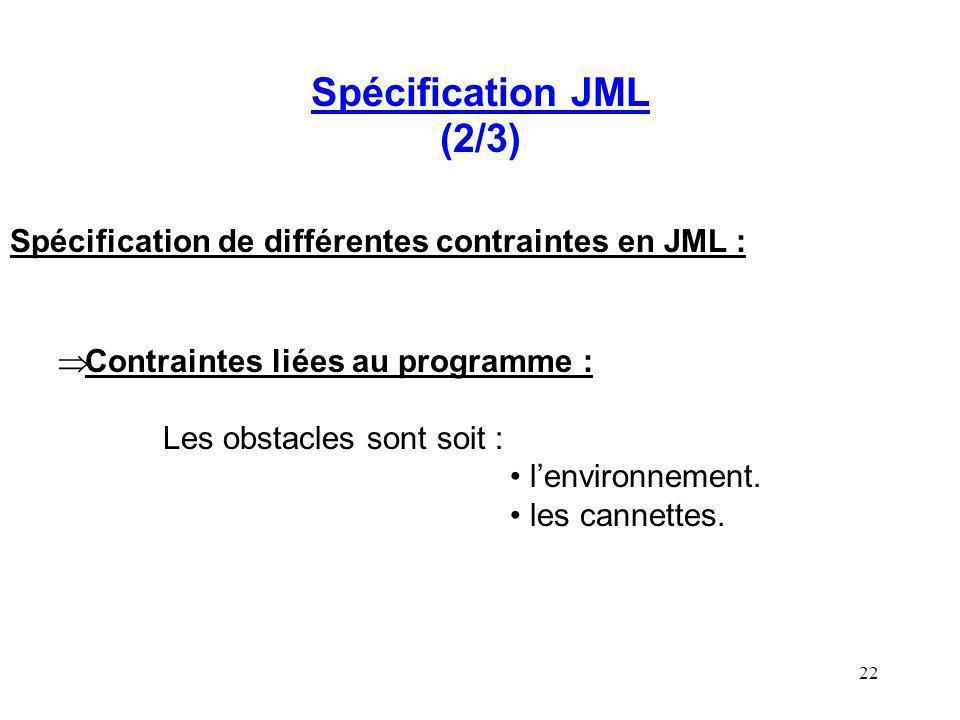 22 Spécification JML (2/3) Spécification de différentes contraintes en JML : Contraintes liées au programme : Les obstacles sont soit : lenvironnement