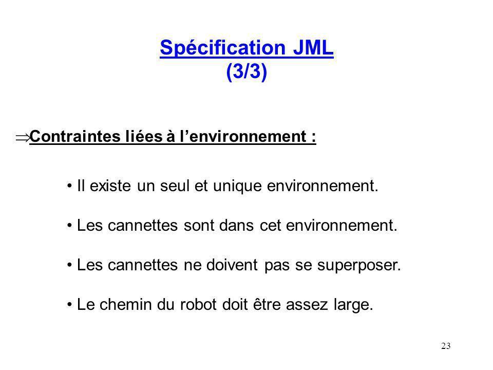 23 Spécification JML (3/3) Contraintes liées à lenvironnement : Il existe un seul et unique environnement. Les cannettes sont dans cet environnement.