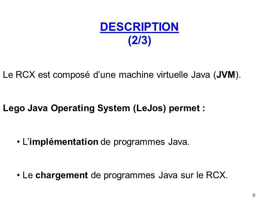 10 DESCRIPTION (3/3) Conclusion : LeJos offre tous les outils nécessaires à : Limplémentation de divers algorithmes.