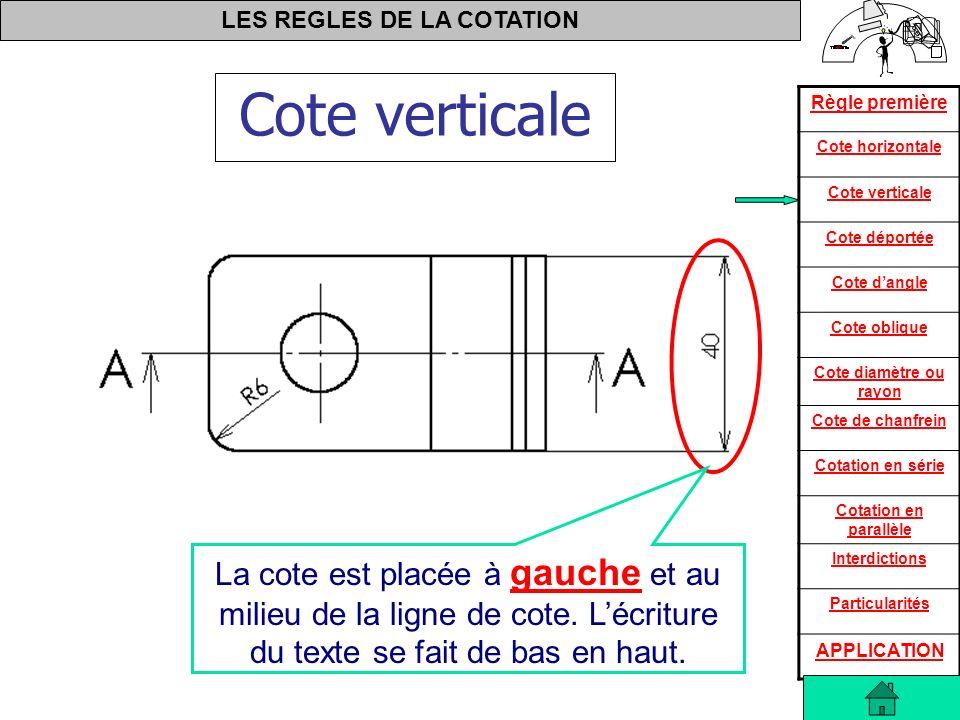 LES REGLES DE LA COTATION Règle première Cote horizontale Cote verticale Cote déportée Cote dangle Cote oblique Cote diamètre ou rayon Cote de chanfrein Cotation en série Cotation en parallèle Interdictions Particularités APPLICATION Le Φ16 est répété 3 fois sur un entre axes de 80 Les cotes de 60 et 130 sont appelées cotes d encombrement.