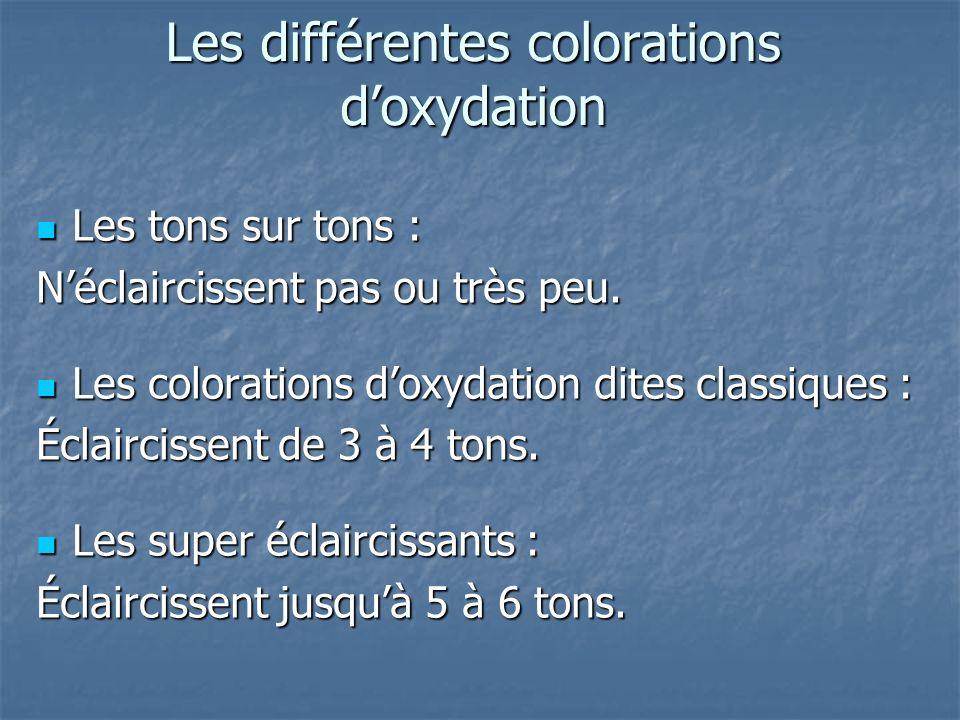 Les différentes colorations doxydation Les tons sur tons : Les tons sur tons : Néclaircissent pas ou très peu. Les colorations doxydation dites classi