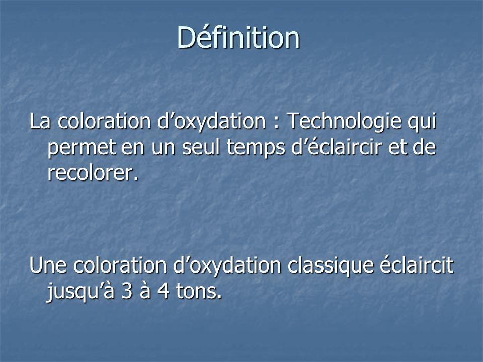 Définition La coloration doxydation : Technologie qui permet en un seul temps déclaircir et de recolorer. Une coloration doxydation classique éclairci