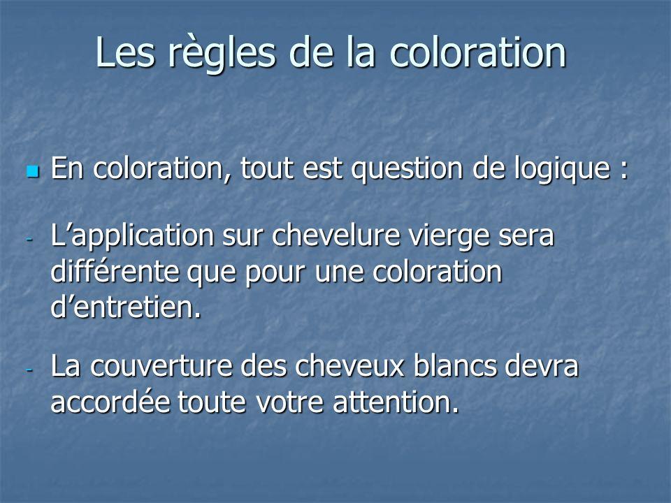 Les règles de la coloration En coloration, tout est question de logique : En coloration, tout est question de logique : - Lapplication sur chevelure v