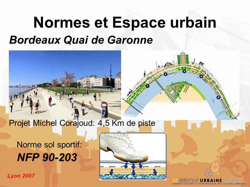 Lyon 2007 Norme sol sportif: NFP 90-203 Normes et Espace urbain Bordeaux Quai de Garonne Projet Michel Corajoud: 4,5 Km de piste