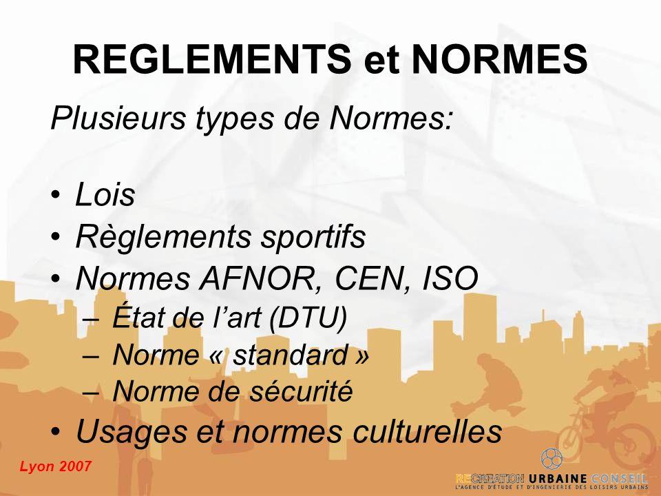 Lyon 2007 Plusieurs types de Normes: Lois Règlements sportifs Normes AFNOR, CEN, ISO – État de lart (DTU) – Norme « standard » – Norme de sécurité Usa