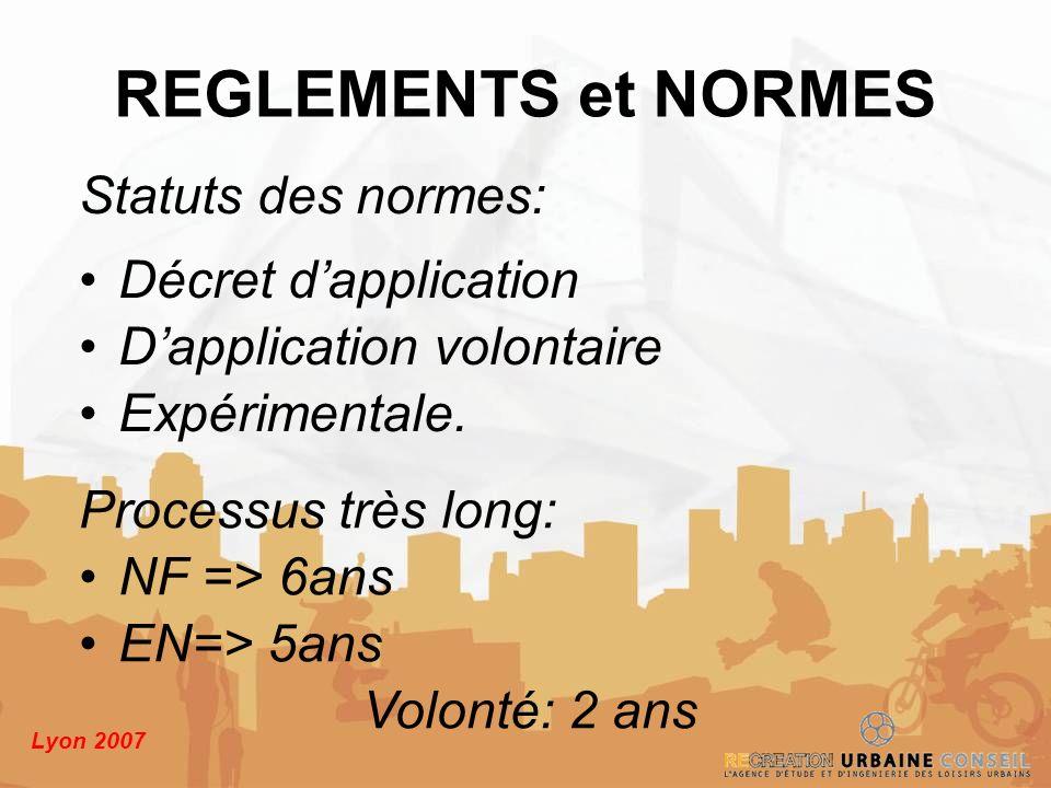 Lyon 2007 Statuts des normes: Décret dapplication Dapplication volontaire Expérimentale. REGLEMENTS et NORMES Processus très long: NF => 6ans EN=> 5an