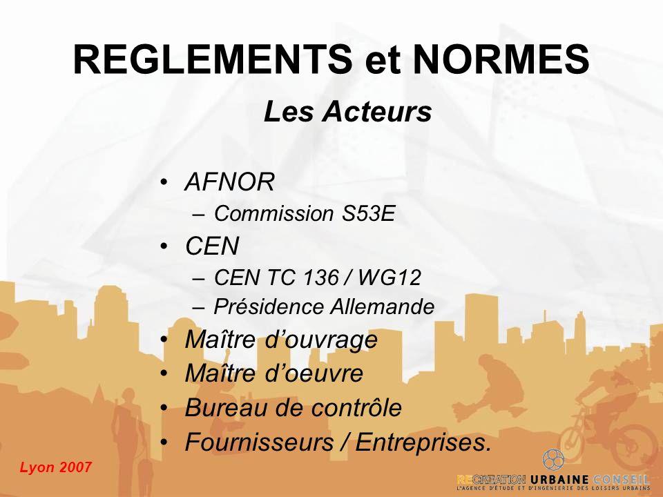 Lyon 2007 Les Acteurs AFNOR –Commission S53E CEN –CEN TC 136 / WG12 –Présidence Allemande Maître douvrage Maître doeuvre Bureau de contrôle Fournisseu