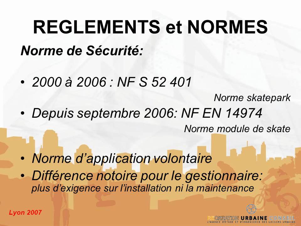 Lyon 2007 Norme de Sécurité: 2000 à 2006 : NF S 52 401 Norme skatepark Depuis septembre 2006: NF EN 14974 Norme module de skate Norme dapplication vol