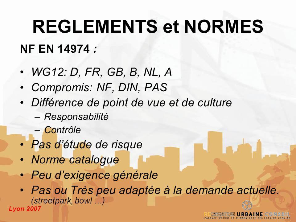 Lyon 2007 NF EN 14974 : WG12: D, FR, GB, B, NL, A Compromis: NF, DIN, PAS Différence de point de vue et de culture –Responsabilité –Contrôle Pas détud