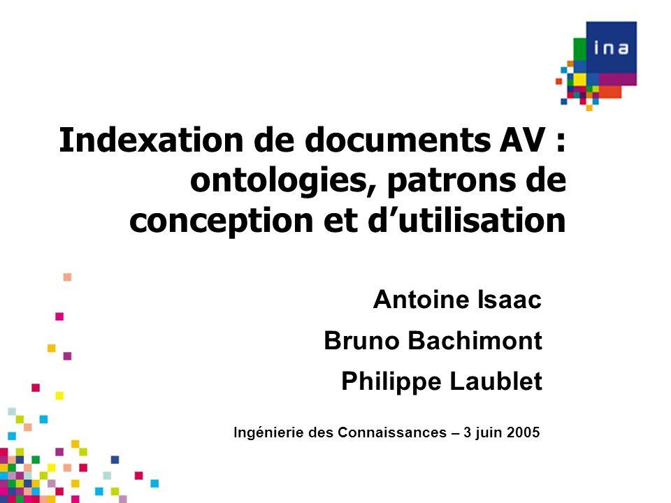 Indexation de documents AV : ontologies, patrons de conception et dutilisation Ingénierie des Connaissances – 3 juin 2005 Antoine Isaac Bruno Bachimon