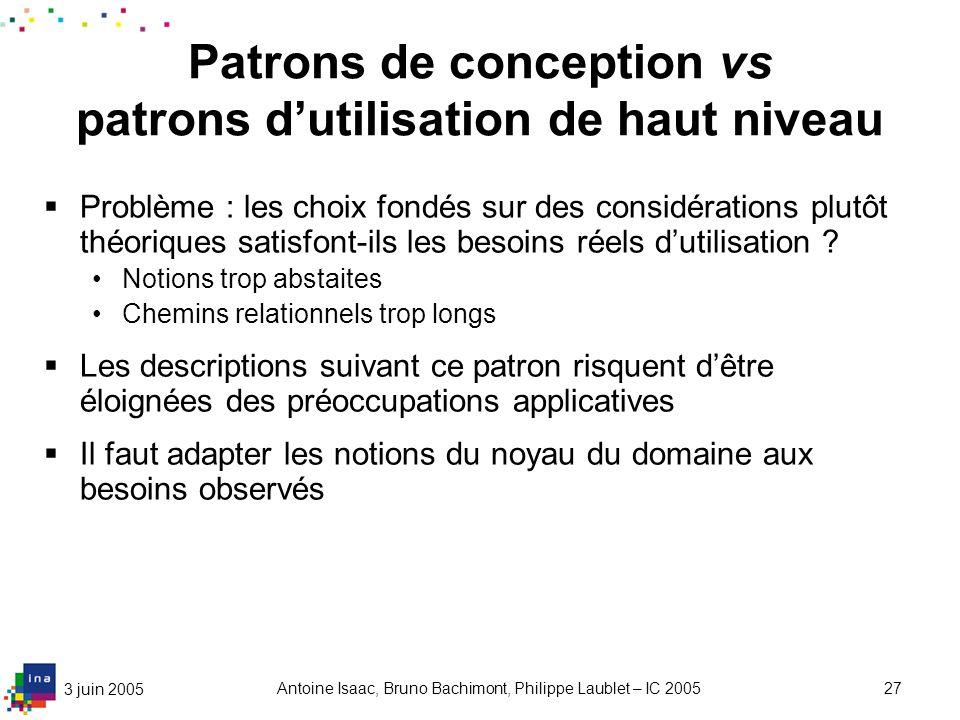 3 juin 2005 Antoine Isaac, Bruno Bachimont, Philippe Laublet – IC 200527 Patrons de conception vs patrons dutilisation de haut niveau Problème : les c