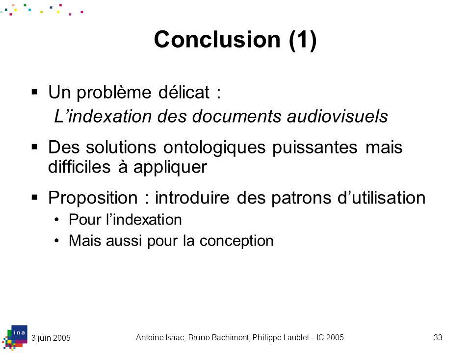 3 juin 2005 Antoine Isaac, Bruno Bachimont, Philippe Laublet – IC 200533 Conclusion (1) Un problème délicat : Lindexation des documents audiovisuels D