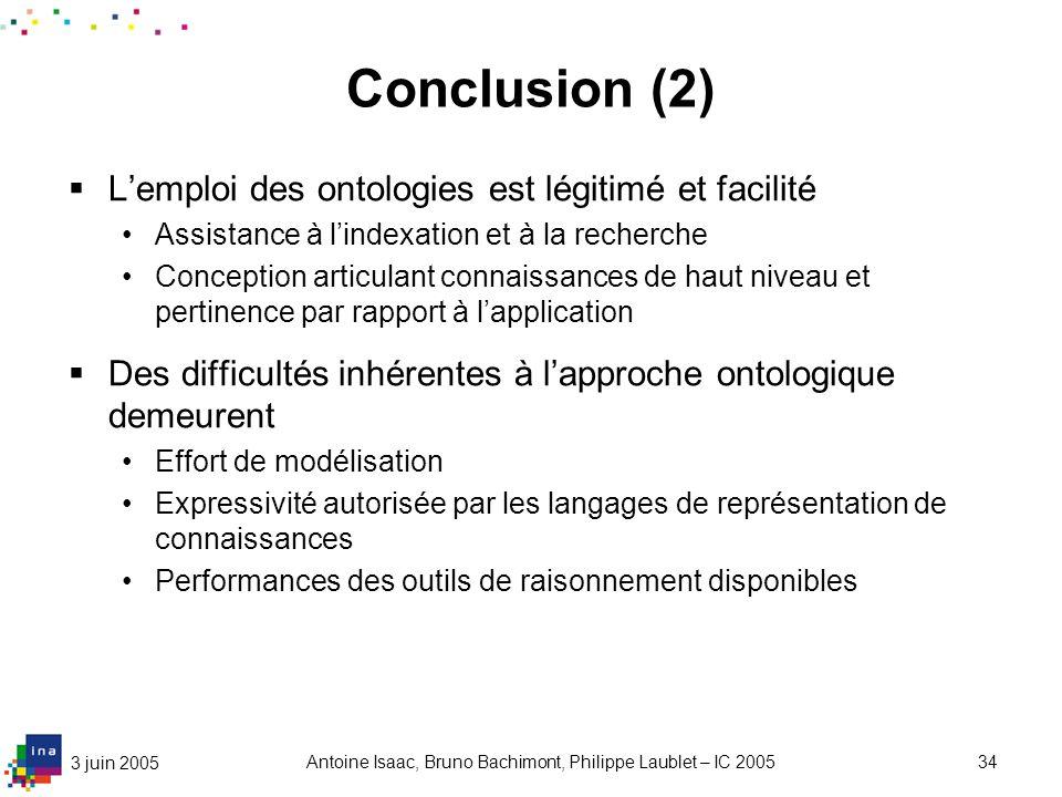 3 juin 2005 Antoine Isaac, Bruno Bachimont, Philippe Laublet – IC 200534 Conclusion (2) Lemploi des ontologies est légitimé et facilité Assistance à l