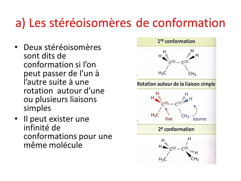 a) Les stéréoisomères de conformation Deux stéréoisomères sont dits de conformation si lon peut passer de lun à lautre suite à une rotation autour dun