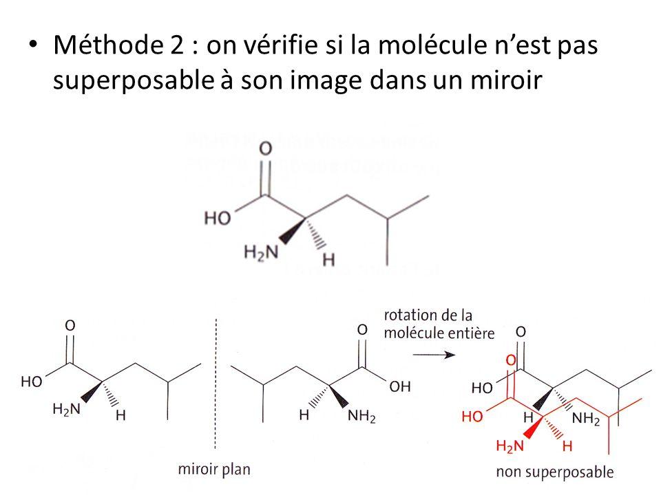 Méthode 2 : on vérifie si la molécule nest pas superposable à son image dans un miroir