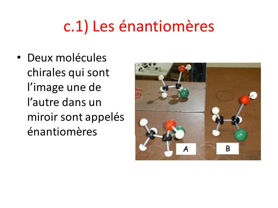 c.1) Les énantiomères Deux molécules chirales qui sont limage une de lautre dans un miroir sont appelés énantiomères