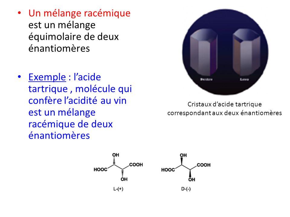 Un mélange racémique est un mélange équimolaire de deux énantiomères Exemple : lacide tartrique, molécule qui confère lacidité au vin est un mélange r