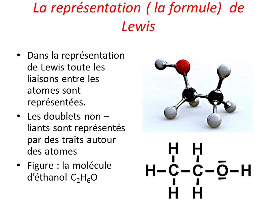 La représentation ( la formule) de Lewis Dans la représentation de Lewis toute les liaisons entre les atomes sont représentées. Les doublets non – lia