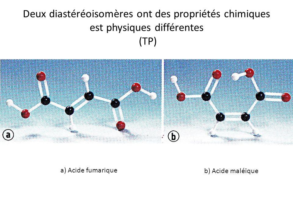 Deux diastéréoisomères ont des propriétés chimiques est physiques différentes (TP) a) Acide fumarique b) Acide maléïque