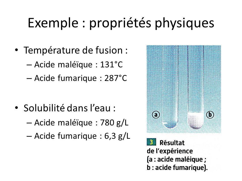 Exemple : propriétés physiques Température de fusion : – Acide maléïque : 131°C – Acide fumarique : 287°C Solubilité dans leau : – Acide maléïque : 78
