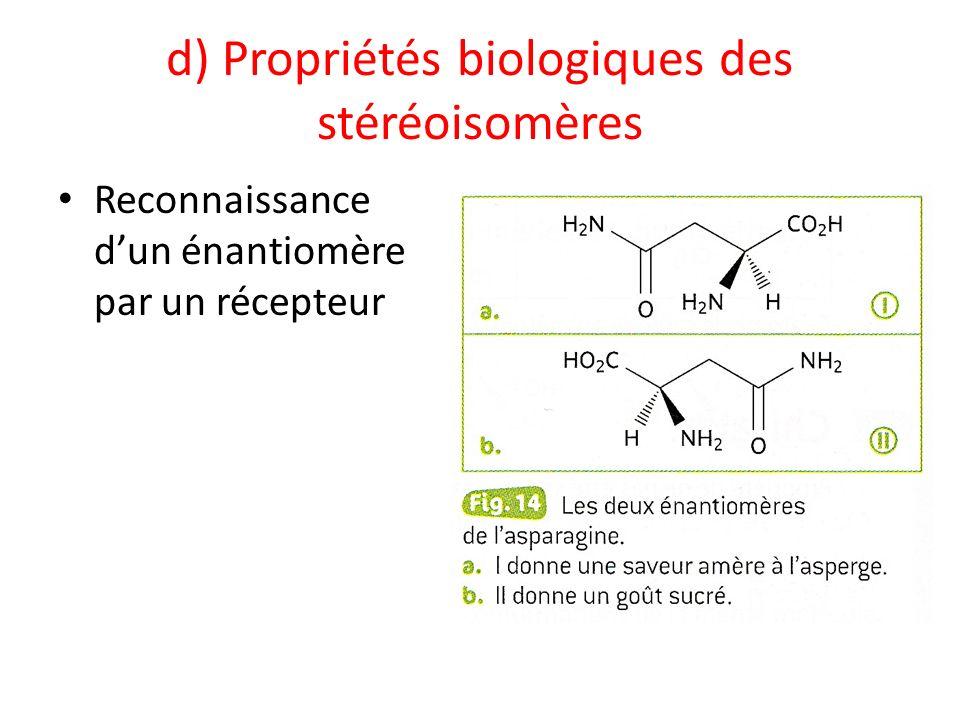 d) Propriétés biologiques des stéréoisomères Reconnaissance dun énantiomère par un récepteur
