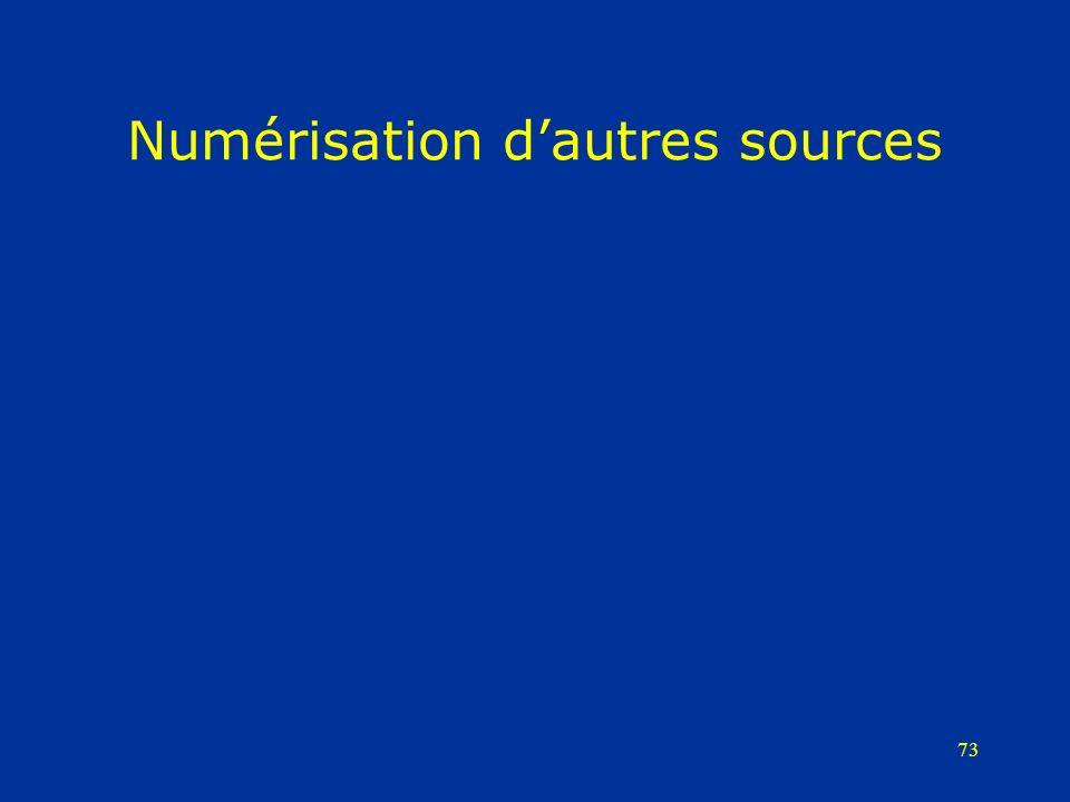 73 Numérisation dautres sources