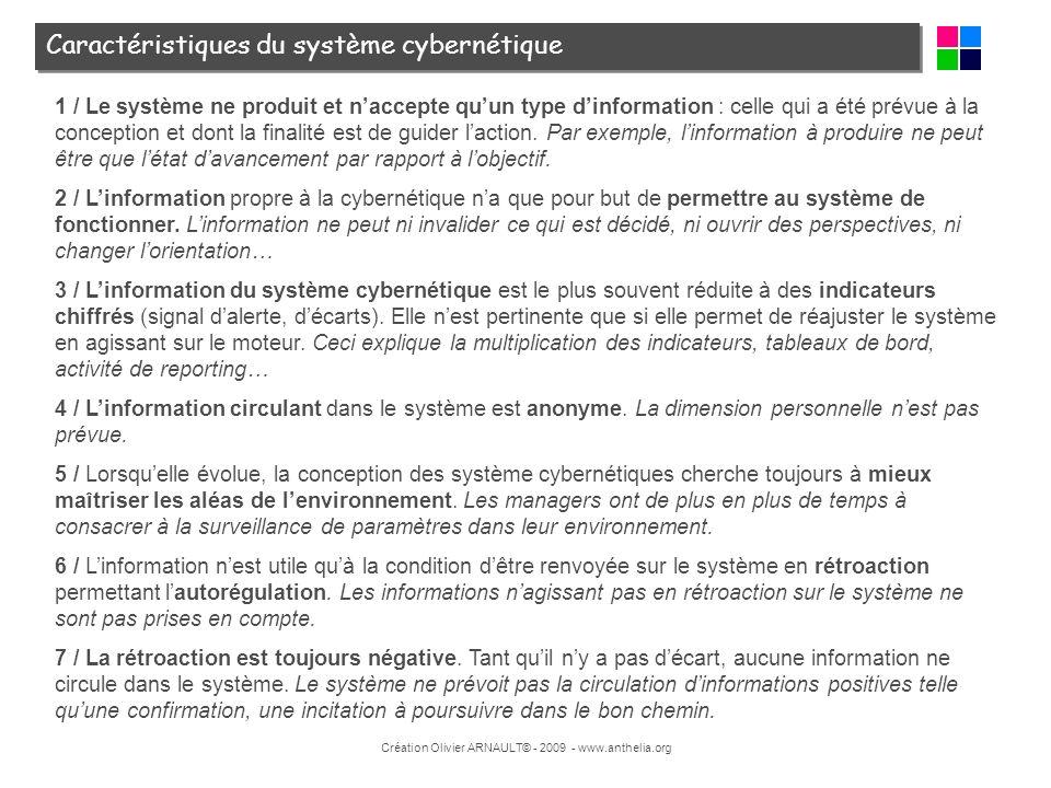 Création Olivier ARNAULT© - 2009 - www.anthelia.org Caractéristiques du système cybernétique 1 / Le système ne produit et naccepte quun type dinformat