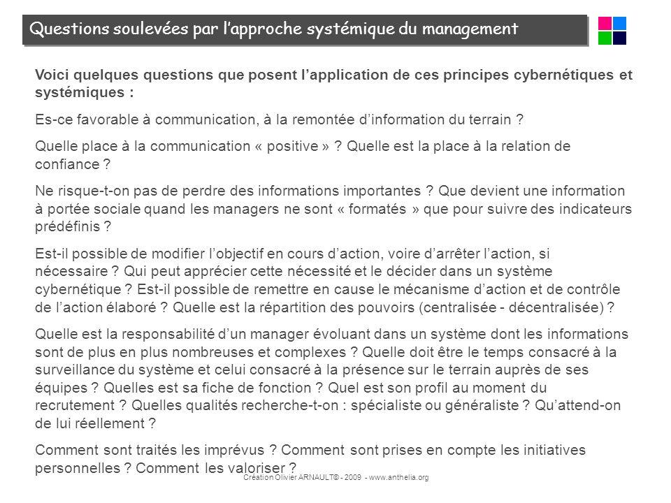 Création Olivier ARNAULT© - 2009 - www.anthelia.org Voici quelques questions que posent lapplication de ces principes cybernétiques et systémiques : E