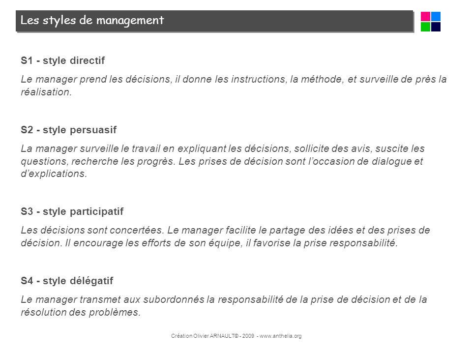 Création Olivier ARNAULT© - 2009 - www.anthelia.org Les styles de management S1 - style directif Le manager prend les décisions, il donne les instruct