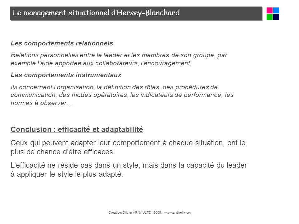 Création Olivier ARNAULT© - 2009 - www.anthelia.org Le management situationnel dHersey-Blanchard Les comportements relationnels Relations personnelles