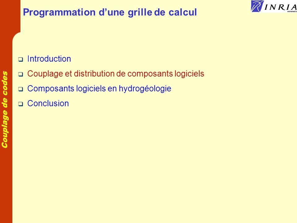 Couplage de codes Programmation dune grille de calcul Introduction Couplage et distribution de composants logiciels Composants logiciels en hydrogéologie Conclusion