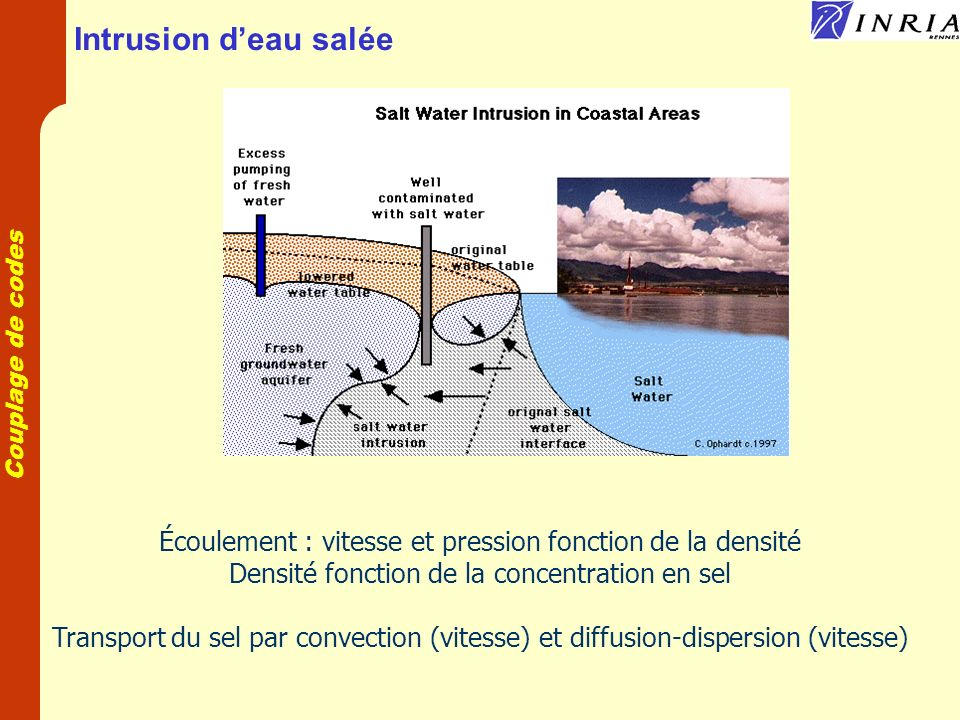 Couplage de codes Intrusion deau salée Écoulement : vitesse et pression fonction de la densité Densité fonction de la concentration en sel Transport du sel par convection (vitesse) et diffusion-dispersion (vitesse)