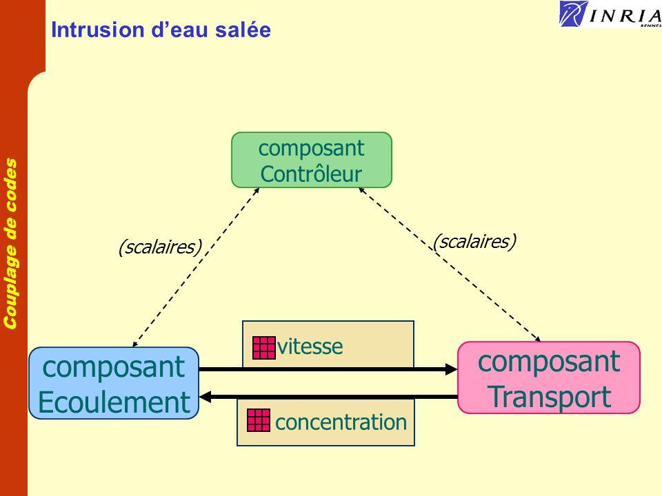 Couplage de codes Transport réactif en milieu poreux u Convection u Dispersion Echange liquide-gaz Réactions en solution Dissolution Précipitation Sorption Relargage Biologie