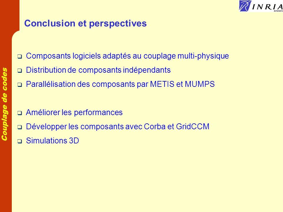 Couplage de codes Conclusion et perspectives Composants logiciels adaptés au couplage multi-physique Distribution de composants indépendants Paralléli