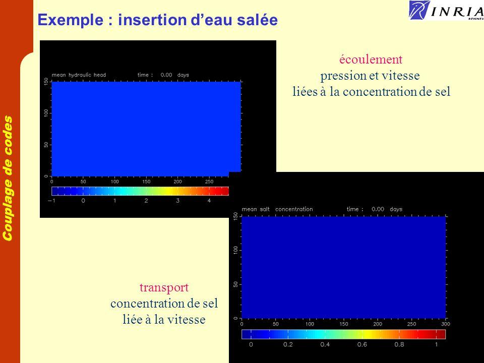 Couplage de codes Exemple : insertion deau salée écoulement pression et vitesse liées à la concentration de sel transport concentration de sel liée à la vitesse