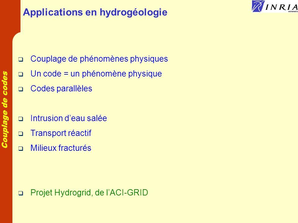 Couplage de codes Applications en hydrogéologie Couplage de phénomènes physiques Un code = un phénomène physique Codes parallèles Intrusion deau salée Transport réactif Milieux fracturés Projet Hydrogrid, de lACI-GRID