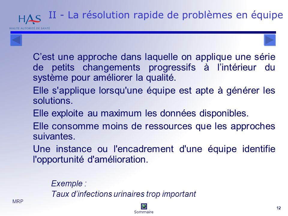 MRP 12 II - La résolution rapide de problèmes en équipe Cest une approche dans laquelle on applique une série de petits changements progressifs à lintérieur du système pour améliorer la qualité.