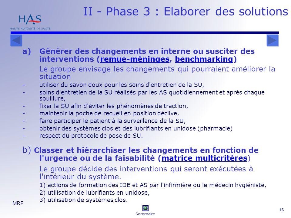 MRP 16 II - Phase 3 : Elaborer des solutions a)Générer des changements en interne ou susciter des interventions (remue-méninges, benchmarking)remue-mé