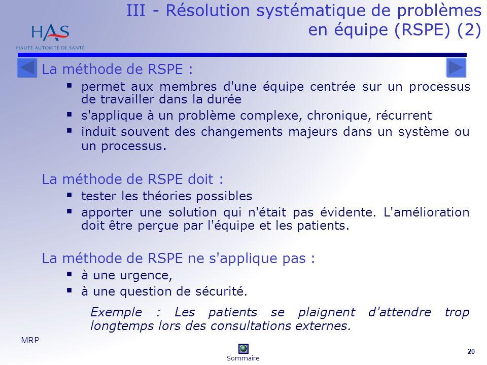 MRP 20 III - Résolution systématique de problèmes en équipe (RSPE) (2) La méthode de RSPE : permet aux membres d une équipe centrée sur un processus de travailler dans la durée s applique à un problème complexe, chronique, récurrent induit souvent des changements majeurs dans un système ou un processus.