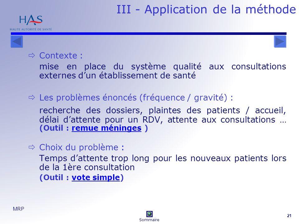 MRP 21 III - Application de la méthode Contexte : mise en place du système qualité aux consultations externes dun établissement de santé Les problèmes