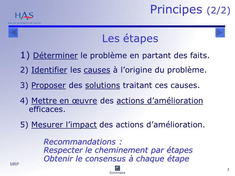 MRP 3 1) Déterminer le problème en partant des faits. 2) Identifier les causes à lorigine du problème. 3) Proposer des solutions traitant ces causes.